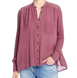 Free People The Best Top Crochet Accented Blouse